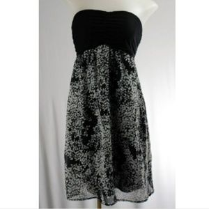 Express strapless black white floral dress chiffon